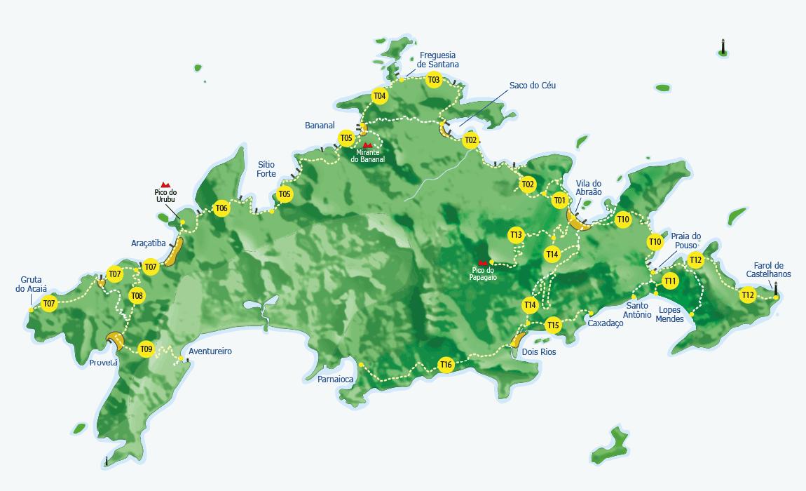 Mapa Trilhas Ilha Grande Brasil