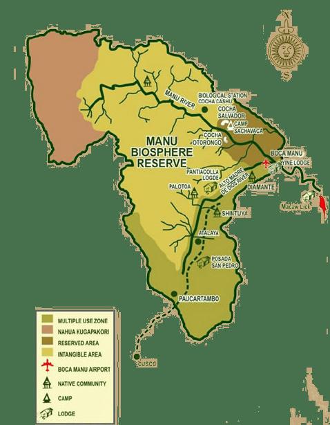 Mapa Parque Nacional Manu Perú
