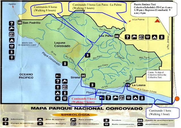 Mapa Corcovado Costa Rica