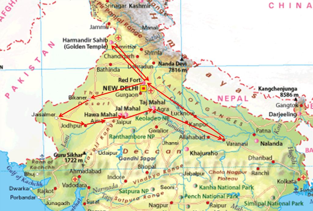 Mapa norte India