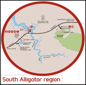 Mapa Kakadu South Alligator - Australia