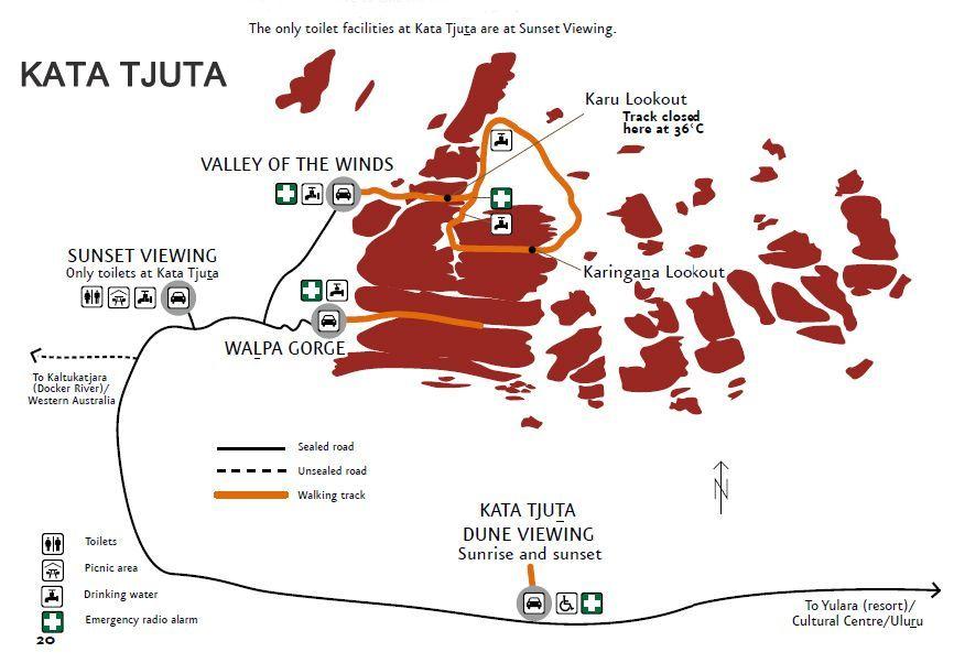 Olgas Kata Tjuta mapa - Australia