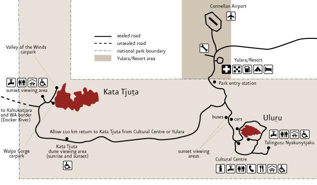 Uluru Kata Tjuta mapa - Australia