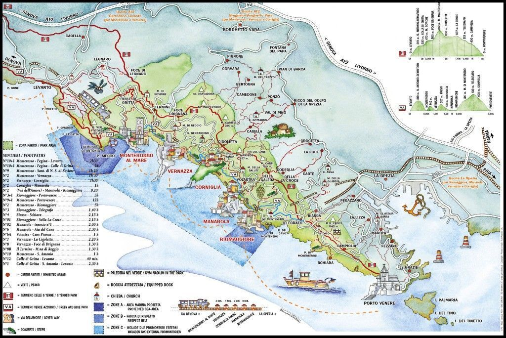 Mapa Cinque Terre Liguria Italia