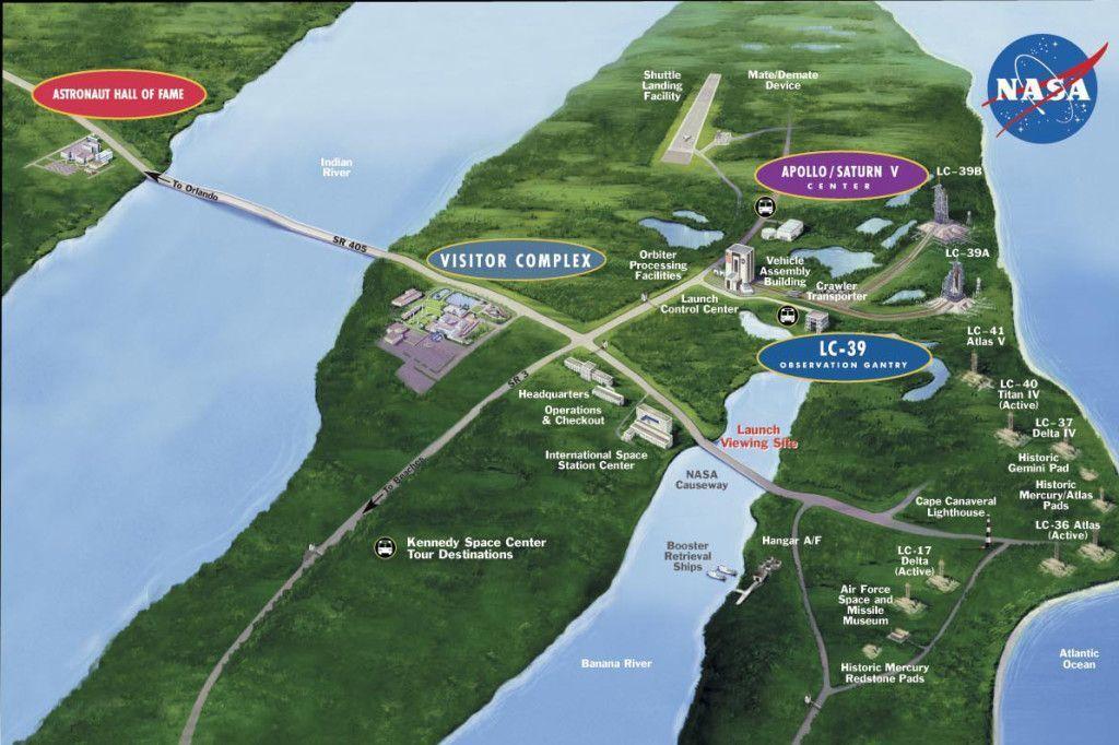 Mapa Kennedy Space Center Florida Estados Unidos